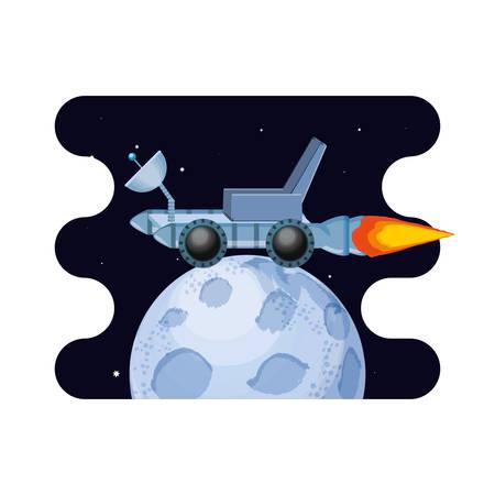 moon satellite with exploration vehicle space scene vector illustration design Çizim