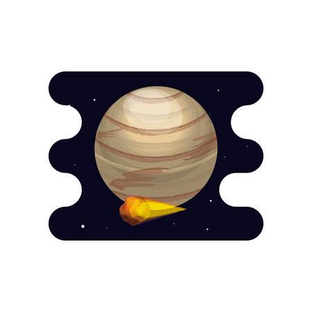 venus planet with meteorite scene space vector illustration design Çizim