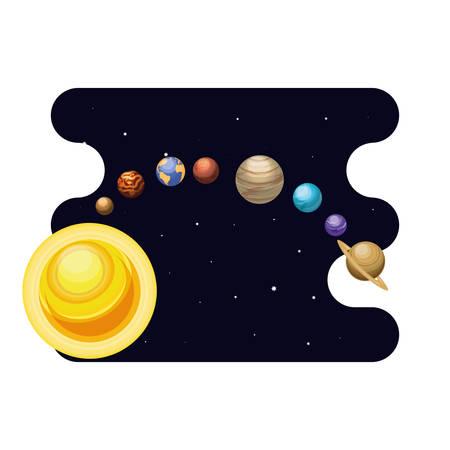 system solar planets scene space vector illustration design