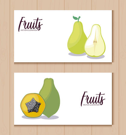 set cards with fresh pears and papayas vector illustration design