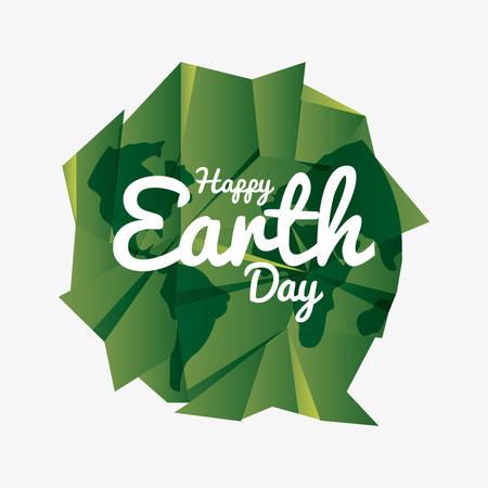 green paper shaped world happy earth day vector illustration Illusztráció