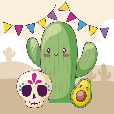 cactus with skull and avocado kawaii character vector illustration design
