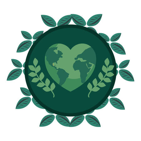world shaped heart leaves nature earth day vector illustration Çizim