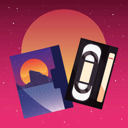 videotape beta box cover retro 80s style vector illustration