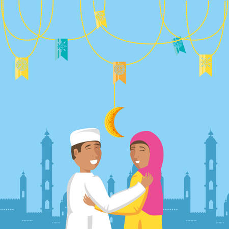 islamic couple lovers with garlands and moon vector illustration design Illustration
