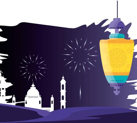 ramadan kareem mosque building with lantern hanging vector illustration design