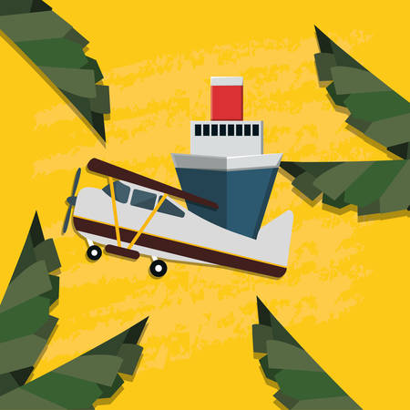 cruise ship travel with small plane vector illustration design