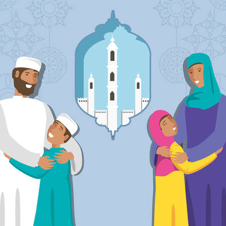 islamic family with kids and ramadan temple vector illustration design
