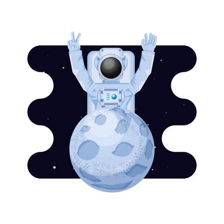 moon satellite with astronaut space scene vector illustration design Çizim