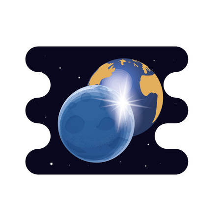 earth planet with moon scene space vector illustration design Çizim