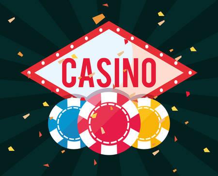 billboard chips casino game bets vector illustration