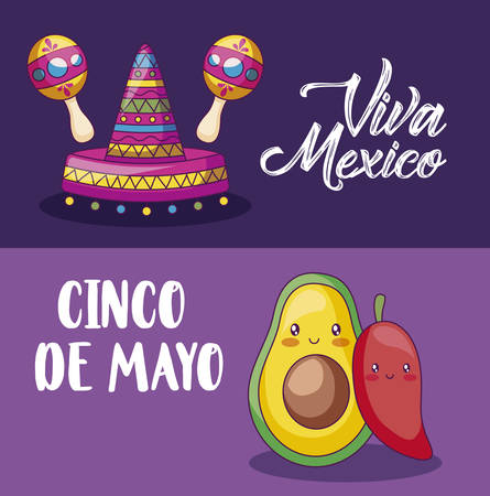 cinco de mayo celebration with mexican hat and set icons vector illustration design