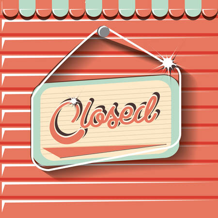 closed board hanging retro store vector illustration Иллюстрация
