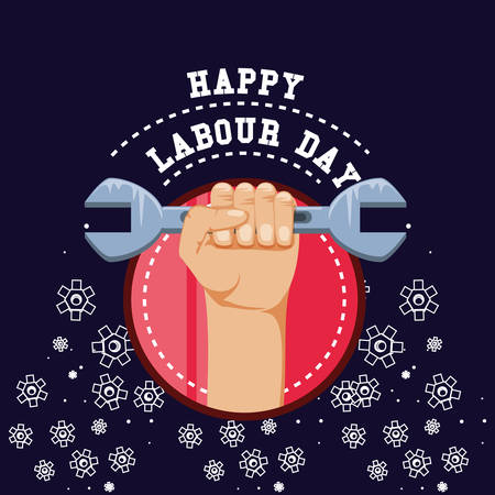 happy labour day with hand fist vector illustration design
