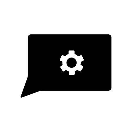 speech bubble with gear machine settings vector illustration design