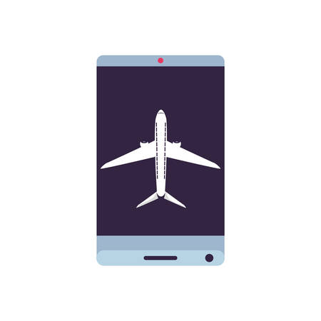 smartphone with airplane flight app vector illustration design