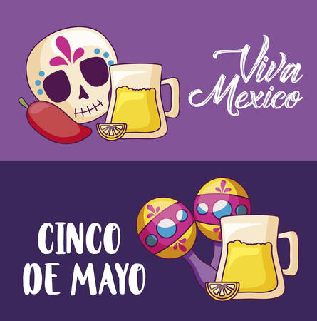 cinco de mayo celebration with beer and set icons vector illustration design
