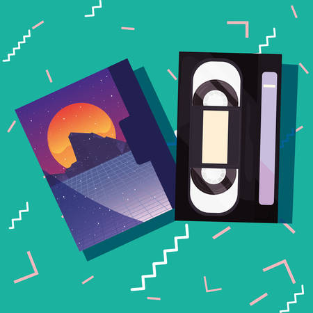 videotape beta box cover retro 80s style background memphis vector illustration