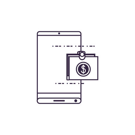 smartphone device with wallet application vector illustration design