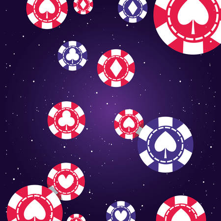 poker suit chips casino game bets background vector illustration