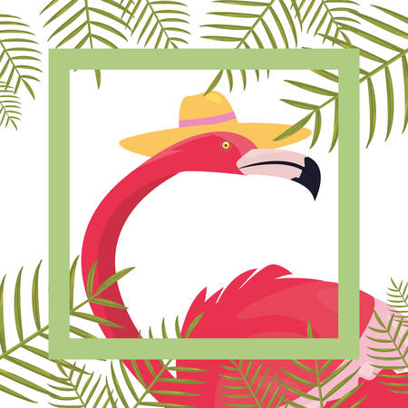 summer time holiday flamingo with hat banner leaves tropical   vector illustration Stock Illustratie