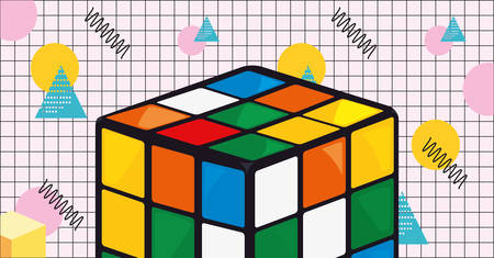 cube rubik game retro 80s style vector illustration