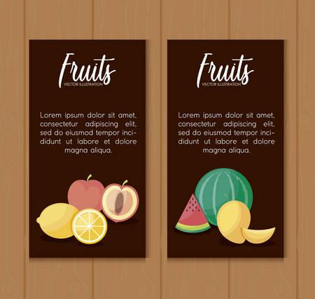 set cards of fresh oranges and set fruits vector illustration design