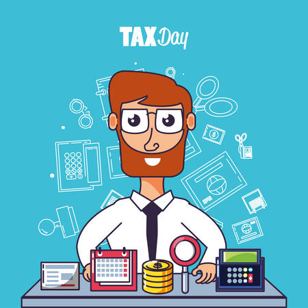 tax day with businessman and set icons vector illustration design Çizim