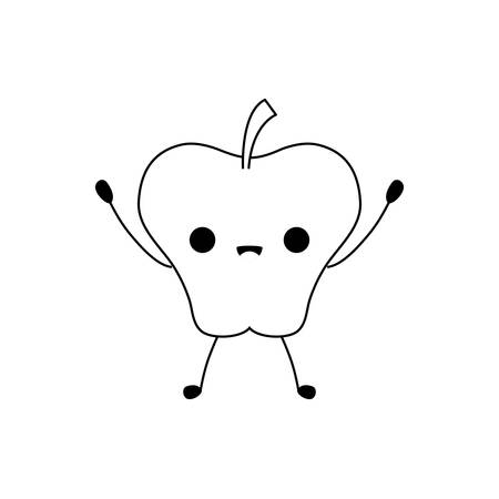 fresh apple fruit kawaii style vector illustration design Illustration