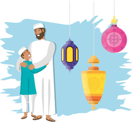 islamic man with son and lanterns hanging vector illustration design