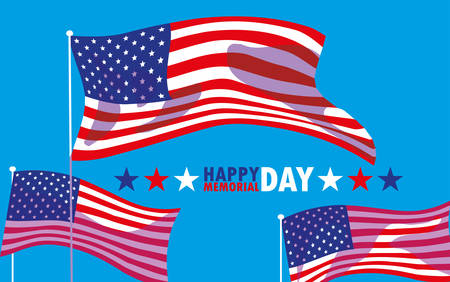 happy memorial day card with flag usa vector illustration design 向量圖像