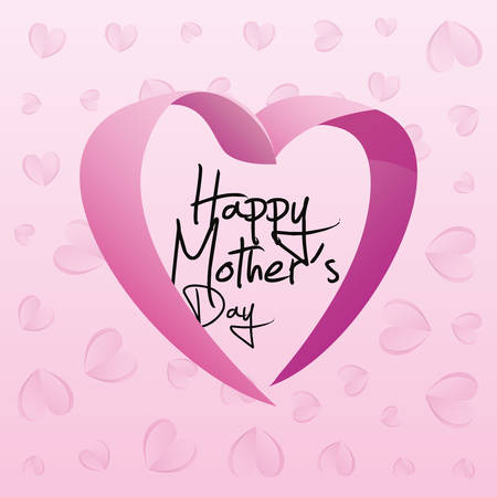 happy mothers day heart love ribbon background vector illustration