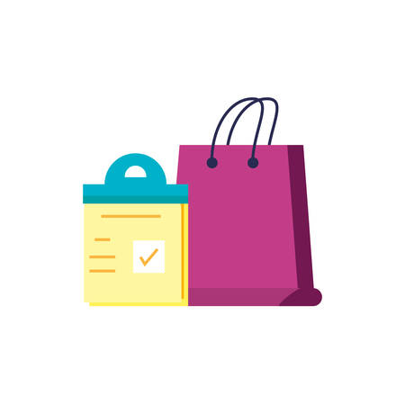 shopping bag with checklist clipboard vector illustration design