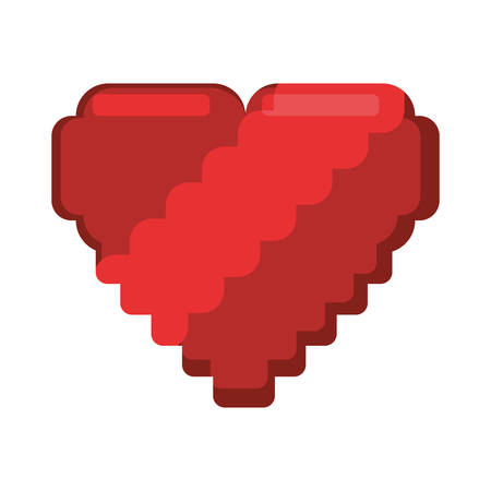 cute heart love pixelated vector illustration design