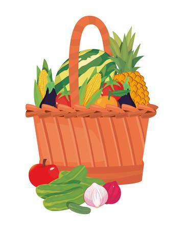 watermelon cucumber apple garlic eggplant tomato corn fresh food wicker basket vector illustration Stock Illustratie