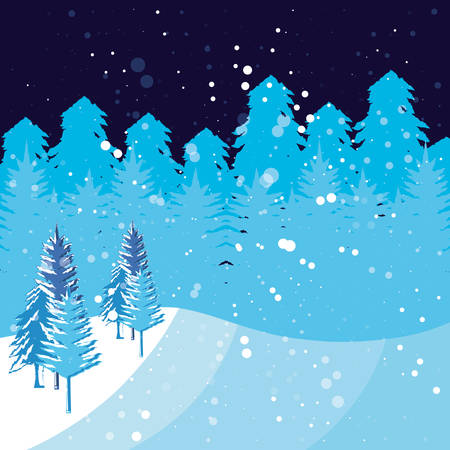 winter landscape scene christmas vector illustration design Reklamní fotografie - 131391476