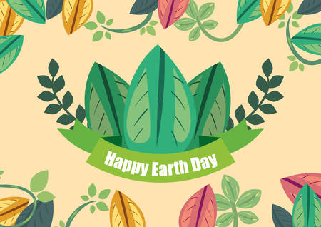 natural leaves branch foliage happy earth day vector illustration Иллюстрация