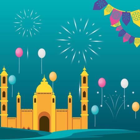 ramadan kareem mosque building with fireworks vector illustration design