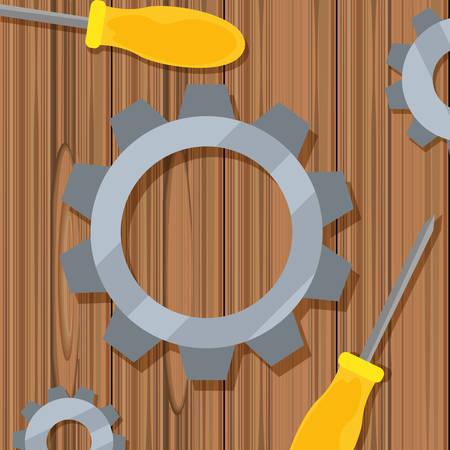 gear screwdrivers on wooden vector illustration design