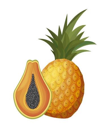 fresh half papaya with pineapple fruits healthy vector illustration design