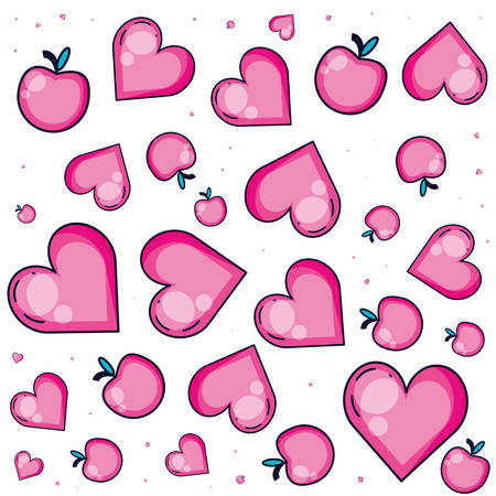 pattern of hearts love and apples vector illustration design