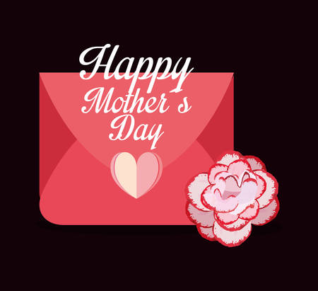 happy mothers day mail flower heart celebration vector illustration Иллюстрация