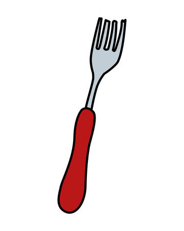 kitchen fork in white background vector illustration design