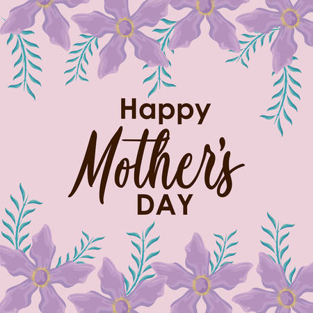 happy mother day card with frame of flowers vector illustration design Иллюстрация