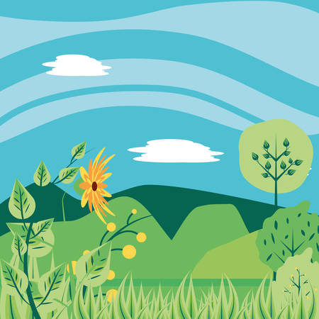 landscape nature with flowers and mountains vector illustration design