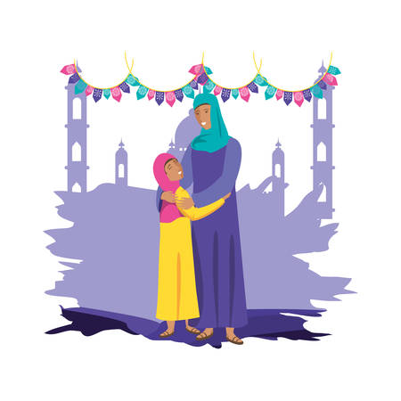 islamic mother with daughter and ramadan kareem temple vector illustration design Illustration