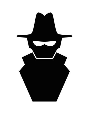 cyber spy silhouette icon vector illustration design