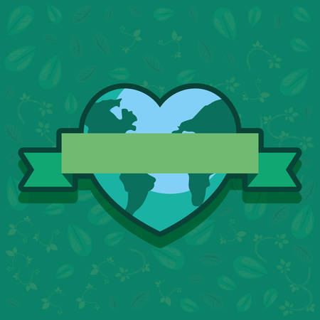 world shaped a heart happy earth day vector illustration