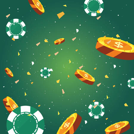 chips and coins money falling background casino game bets vector illustration