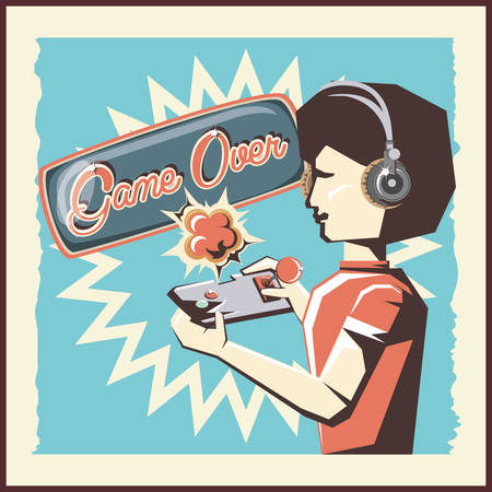 retro videogames design with avatar woman with headphones and playing videogames over background, colorful design. vector illustration